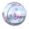 Glass Lamp Bead 14mm Round Light Blue/Rose